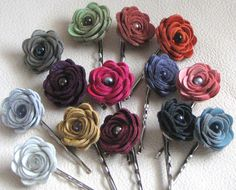 2 Leather Floral Bobby Rose Pins 16.00