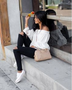 White off the shoulder top black distressed jeans white sneakers nude crossbody. Spring Casual Outfit 2016