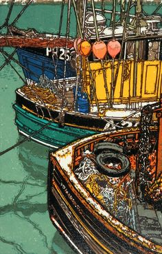 """Floats, Ropes & Reflections"" Linocut by H J Jackson http://www.birchamgallery.co.uk/catalogue/artist/H.J.:Jackson/biography/?category=prints. Tags: Linocut, Cut, Print, Linoleum, Lino, Carving, Block, Woodcut, Helen Elstone, Sea, Water, Boats, Fishermen, Reflection, Harbour."