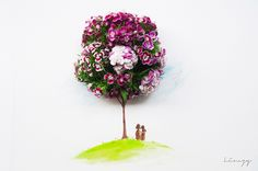 Artist Lim Zhi Wei of Love, Limzy uses flowers, food and other household items enhanced with illustrations to produce engaging and realistic works of art. Art Floral, Floral Design, Floral Doodle, Flower Petals, Flower Art, Little Flowers, Art For Art Sake, Mothers Love, Whimsical Art