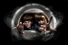 These are my twins. Oh yes, at times being a Dad is not easy. This is a depiction of what they seem to me as...little monsters. They were more than happy to pose for this on which was taken inside our home clothes dryer. They had a blast with this one.