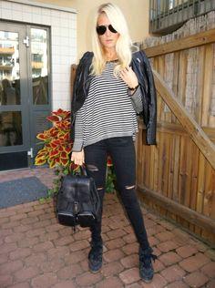 Stripes & Biker http://josieswall.com  #streetlook #backpack #gucci #streetstyle