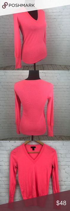 "J. Crew Bright Pink 100% Merino Wool Sweater Sz S J. Crew Bright Pink 100% Merino Wool Sweater Sz S Stay warm while looking cool in this gorgeous coral sweater from J. Crew. Dress it up with heels and a pencil skirt or down with jeans and a pair of Converse. Approximate measurements back collar to hem 24"", pit to hem 16.75"", pit to pit 15.5"". Preowned from a smoke free home in great used condition. Check out the other items in my closet and create your own custom bundle! J. Crew Sweaters…"