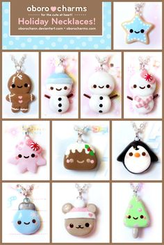 Fimo Holiday Necklaces by ~Oborochann on deviantART Polymer Clay Kunst, Cute Polymer Clay, Cute Clay, Fimo Clay, Polymer Clay Charms, Polymer Clay Projects, Polymer Clay Creations, Clay Crafts, Polymer Clay Jewelry