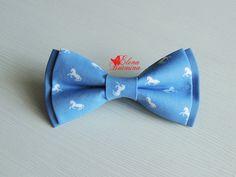 Купить Бабочка галстук с лошадьми, хлопок - голубой, орнамент, лошадь, лошадка, лошади, бабочка