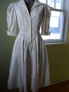 Vintage 1980s White Dress  Big Shoulder Drop Waist by bycinbyhand, $45.00 #bycinbyhand #cinsfreshpicked #batwing #whitedress #princess #prairiedress #breakfastclub #newromantic #80sfashion #lolita