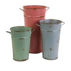 Rustic Metal Vases Set/3