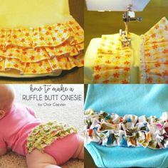 Char from Crap I& Made is sharing an adorable Ruffle Butt Onesie tutorial with us today. Such a cute and easy way to doll up a onesie. Sewing Baby Clothes, Baby Clothes Patterns, Baby Patterns, Sewing Patterns, Barbie Clothes, Dress Patterns, Sewing Ideas, Coat Patterns, Quilt Patterns
