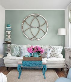 teal, hot pink and pale green - great color combo for the guest room