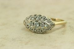 Vintage Engagement Ring Diamond Cluster by FergusonsFineJewelry
