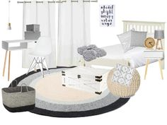 Minimalist, neutral, Scandinavian inspired children's bedroom moodboard - See more here -
