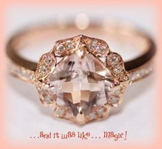 Vintage Engagement Ring Cushion Cut Morganite in 14k Rose Gold Diamond Halo Setting on Etsy, $1,140.00