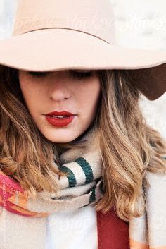 Pretty lady in hat and scarf with red lips. by Guille Faingold for Stocksy United