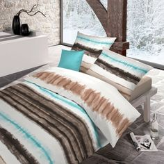 Warme und weiche Farben..genau das Richtige für den Herbst! Bilbao braun Microfaser Velours Bettwäsche von Schlafgut mit Reißverschluss. Die Querstreifen verlaufen auf dieser Garnitur zu einem ansehnlichen Muster. Schöne Farben peppen Ihr Schlafzimmer gekonnt auf. Warm und weich ist das Material einfach perfekt. www.bettwaren-shop.de