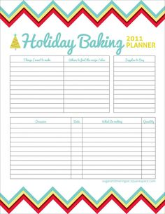 Holiday Baking Planner.this is something I need.