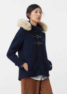 Faux-fur wool-blend duffel coat