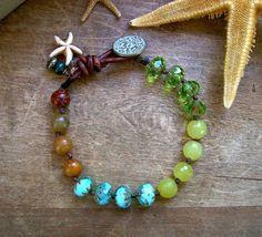 Boho bracelet - Seashore - Beach jewelry, Bohemian wrap bracelet, leather, starfish, friendship, knotted beads, dangles charms