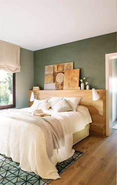 Master bedroom – green stone neatural walls with vinyl paper over a headwall Decoration Bedroom, Room Decor Bedroom, Bedroom Furniture, Bedroom Ideas, Home Theater, Plasma, Bedroom Green, Layout, Master Bedroom Design