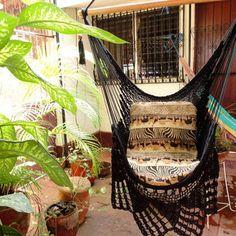Black Sitting Hammock, Hanging Chair Natural Cotton and Wood plus Traingle Fringe