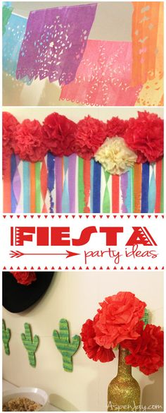 Fiesta Party ideas- super cute, cheap, and easy to make! #cincodemayo #fiesta #fiestapartydecor