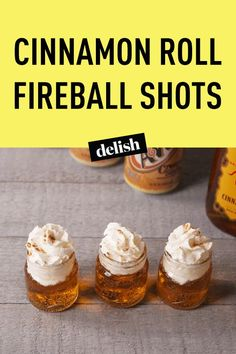 Cinnamon Roll Fireball Shots Are the Sweetest Way to Get the Party Started – Gesundes Abendessen, Vegetarische Rezepte, Vegane Desserts, Fireball Shot, Fireball Drinks, Fireball Recipes, Party Drinks Alcohol, Alcohol Drink Recipes, Fun Drinks, Yummy Drinks, Jello Shots With Fireball, Yummy Shots