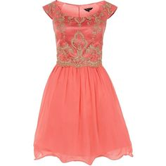 Coral Lace Top 2 in 1 Prom Dress ($75) found on Polyvore