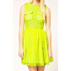 Yellow Neon Lace Dress