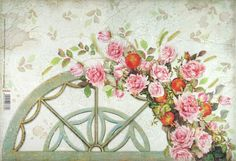 Rice Paper for Decoupage Decopatch Scrapbook Craft Sheet Vintage Fence & Roses