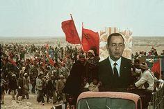 Hassan II of Morocco, in portrait. Green March into Western Sahara (ex- Spanish Sahara), 1975.