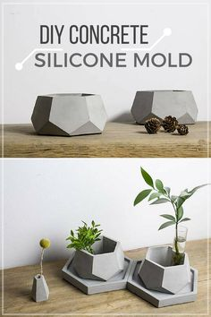 I love these hexagon geometric concrete planters. With the silicone mold I could make a lot of kitchen containers from it. #ad #concrete #flowerpot #planter #siliconemold #cement #hexagon #geometric #homedecor