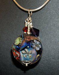 Sterling Silver Round Pendant #Flower Bead, decorated with Dichroic and handmade  #SYLink #Secretgardemgems