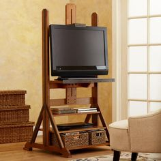 Easel Media Stand from World Market. Cover with art canvas when not in use.