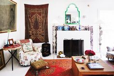A Moroccan living space with bold colors and eclectic style