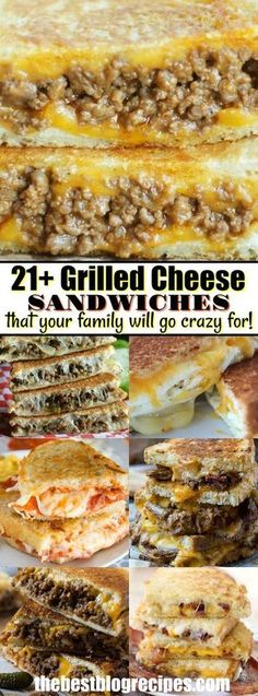 21 GRILLED CHEESE SANDWICHES that your family will go crazy for! Everybody loves a good grilled cheese sandwich. Buttery bread crisped to perfection and loaded with ooey, gooey cheese, makes a classic lunch that never gets old. Sandwich Bar, Soup And Sandwich, Grilled Sandwich Ideas, Sandwich Melts, Grilled Cheese Sloppy Joe, Grilled Cheeses, Grilled Cheese Sandwiches, Steak Sandwiches, Pannini Sandwiches