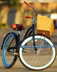 Micargi Tahiti Pacific beach cruiser bike  for women midnight blue with baby blue rims