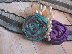 Hey, I found this really awesome Etsy listing at https://www.etsy.com/listing/156284781/shabby-headband-rosettes-headband-purple