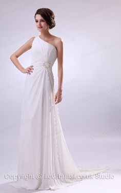 Vogue One Strap Ruched Beaded A-line Wedding Dress
