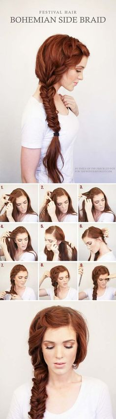 Best Hair Braiding Tutorials - Bohemian Side Braid Festival Hair Tutorial - Easy Step by Step Tutorials for Braids - How To Braid Fishtail, French Braids, Flower Crown, Side Braids, Cornrows, Updos - Cool Braided Hairstyles for Girls, Teens and Women - School, Day and Evening, Boho, Casual and Formal Looks http://diyprojectsforteens.stfi.re/hair-braiding-tutorials