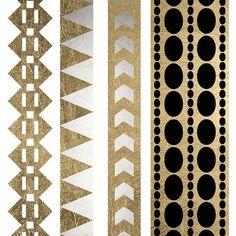 Sheet of 4 gold metallic temporary tattoo bracelets, tribal, trendy tats, gold tattoo Golden Feather Tattoos