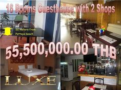 Pattaya Guesthouse for sale with 16 Rooms  plus 2 Shops: 50 meters from Pattaya beach, minutes from  Walking Street, 3 units, 2 units restaurant, 1 separated unit  bar, 16 hotel style rooms, on Thai name, 55,500,000.00 THB inclusive transfer tax, call 0800176100, for details: http://www.hotelsforsalethailand.net/pattaya-beach-16-rooms-guesthouse-with-2-shops/