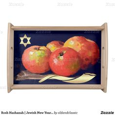 "Jewish New Year | Rosh Hashanah Fine Art Gift Serving Tray. ""Still Life with Apples"", Oil Painting, circa 1900. Artist: Nicolae Grigorescu. This is a great gift for Rosh Hashanah! While not actually serving the Rosh Hashanah, this tray will fill your dining room or living room with a festive atmosphere. at zazzle.com"