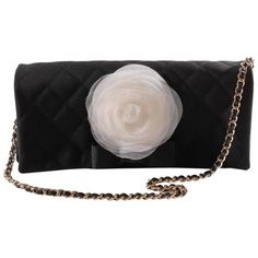 Preowned Chanel Satin Camellia Clutch Bag - Black/white/silver ($1,835) ❤ liked on Polyvore featuring bags, handbags, clutches, chanel, multiple, special occasion clutches, quilted purses, black and white handbags, silver clutches and satin clutches