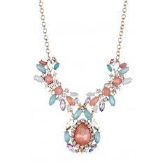 Statement Floral Necklace - Gold / Peach / Mint | Olivia Welles $147.00