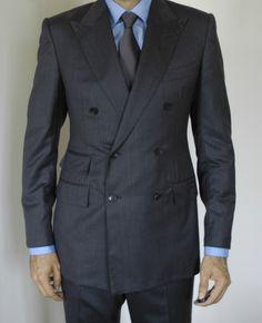 Tom Ford Suit (Men's Pre-owned Double Breasted Grey Herringbone Wool Suit)