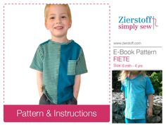 FIETEs shirt pattern, short or long sleeve – with a round or V-neck, sizes 62-104 (6 mo.-4/5 yrs.) / INSTANT DOWNLOAD by MyZierstoff on Etsy