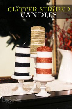 glitter striped candles for halloween--super cute and easy craft!  This could be for any holiday and really any time of the year...pink glitter (or any color) to match a girls bathroom, or to set on the edge of a garden tub in the Master Bath or Guest Bath.