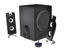 Cyber Acoustics Subwoofer Satellite System - - Product Description: Enjoy the thunderous bass response from the speaker system by Cyber Acoustics. This three-piece system incl Best Computer Speakers, Pc Speakers, Satellite Speakers, Computer Deals, Computer Case, Subwoofer Speaker, Old Computers, Desktop Computers, Gaming Desktop