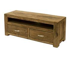 Mueble de TV en madera de sheesham Livia - largo 115 cm