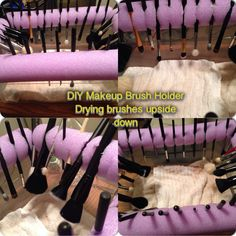DIY Makeup Brush Holder. Idea came from purse buzz via YouTube. After washing brushes, they can dry upside down. Materials: 1 swim noodle, large shoe box, scissors (cutting slits) and wet brushes.