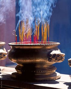 Incense burning in temple. by Hugh Sitton - Stocksy United Vietnam, Temple, The Unit, Stock Photos, Image, Incense, Temples